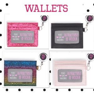 Retractable Wallet Black and Pink Left